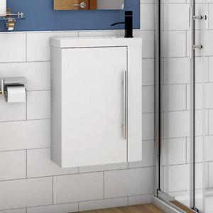 Wall Hung Cloakroom Sink Vanity Unit White/Grey/Oak Small 440mm Door Furniture