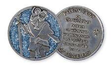 ST CHRISTOPHER Coin GLITTER  PEWTER Token Keepsake Medal Travel Protection