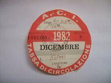 BOLLO AUTO 1982 ACI AUTO D'EPOCA TASSA CIRCOLAZIONE 1982 (m26-1-13 )