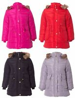 Girls Kids Golden Button Paded Quilted Jacket Faux Fur Belted Parka