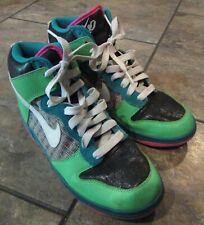 NIKE Women 6.0 Dunk High Top Neon Green Pink Teal Sneakers Sz 10 #342257-311