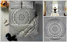 Queen Black & White Cotton Mandala Indian Bedspread + Curtain + Pillows Set Boho