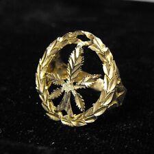 vintage 10K & 14K yellow GOLD marijuana leaf ring men's size 12 - large 420 COOL