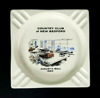 """Country Club of New Bedford Ashtray August 4 1960 Ball Off-White 7.25"""" Square"""