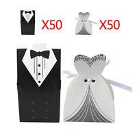 100pcs Dress Tuxedo Groom Bridal Wedding Party Favor Gift Ribbon Candy Boxes Hot