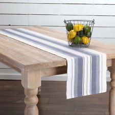 """New Beach House Country Cottage Chic OCEAN BLUE STRIPED Ribbed Table Runner 72"""""""