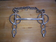 """New listing Used Ss Liverpool Turn Cheek Straight Bar Driving Bit 6 1/2"""" Mouth Ss Curb"""