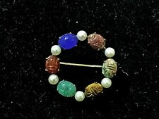 Vtg Marked Wre Gold Filled Pearl & Genuine Stone Scarab Wreath Pin