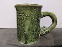 Green Pottery mug Nice Design frog and lilypad signed by Margery Antique(?) Vtg