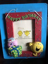 Mr Men Coleccionable Happy Cumpleaños Foto Marco 7.5x5.5 Inc Miss Lucky Mr Happy