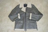 All Saints Grey Shield Leather Sheepskin Biker Bomber Jacket Coat Mens Medium M