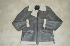 All Saints Grey Shield Leather Sheepskin Biker Bomber Jacket Coat Mens Medium M