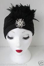 Schwarze Feder Turban Vintage 1920s Perle Cloche Hut 30s Kopfteil Flapper k35