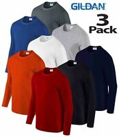 3 Pack Gildan MEN'S LONG SLEEVE T-SHIRT SOFT COTTON PLAIN TOP SLEEVES CASUAL