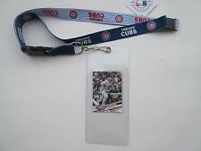 CHICAGO CUBS TWO TONE LANYARD WITH TICKET HOLDER AND COLLECTIBLE PLAYER CARD