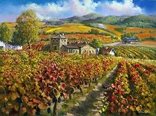 "SAM PARK ""Red Vineyards Napa Valley"" Winery 30x40 Hand Signed/# Embellished PCOA"