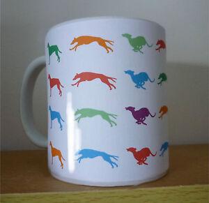 Greyhound Mug, running greyhounds Gift  Birthday Gift % to Greyhound Charity