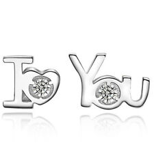 "Women Silver Plated ""I Love You"" Rhinestone Elegant Ear Stud Earrings for wife"