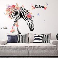 Animal Zebra Flower Vinyl Removable Wall Sticker Decals Home Room Decor Murals
