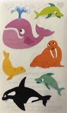 Chubby Sea Mammals Stickers(6pc) Mrs.Grossman's•Sea •Whale•Orca •Swim•Seal•Fishes
