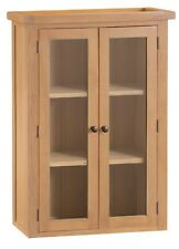 Toledo Oak 2 Door Glazed Display Cabinet / Solid Wood Dresser Top