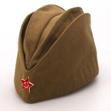 Pilotka Military Side Cap w/ Star Pin Vintage Style Khaki Soviet Soldier Hat Cap
