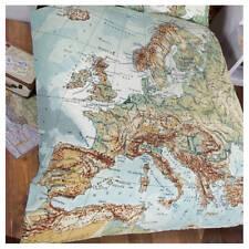 Vintage World Map Atlas Globe Duvet Quilt Cover Bed Set SINGLE DOUBLE KING