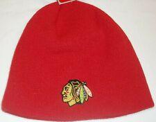 Chicago Blackhawks Cuffless Winter Knit Hat by Reebok - Adult Osfa - New
