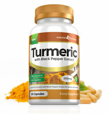 Turmeric (Curcumin) + Black Pepper Extract for Fast Absoprtion 500mg 60 Capsules