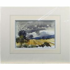 Barbara Crowe RI Before the Storm Corn Fields Landscape Watercolour Painting
