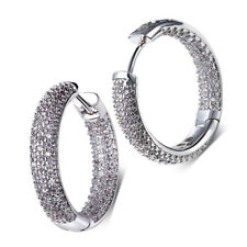 Brand New White Gold Plated Round Clear Sparkly Zircon Women Girl Hoop Earrings