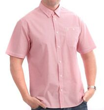Farah S Mens Tomato Pink Micro Check SS Shirt BNWT Brand New 1920 Heritage Small