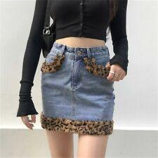 Gothic Women Slim Fur Leopard Print Mini Denim Skirt Short Bodycon Skirt