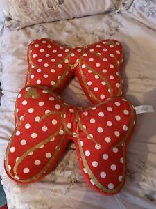 Disney  MINNIE MOUSE bow cushion pillow Red Polka Dot & Gold