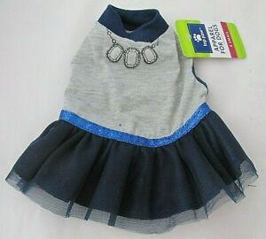 XS Dog Dress Blue Gray Silver Sparkles Screenprint Jewels Top Paw Skirt Stretchy