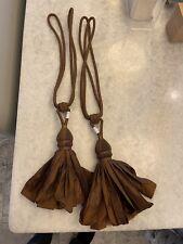 2 (a pair) Brown Window Treatment Curtain Drapery Decor Tassel Rope Cord Tieback