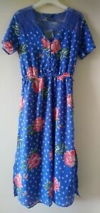 BLUE FLORAL MIDI DRESS  with lace Ex NEW LOOK sizes 8, 10, 12, 14, 16, 18