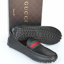 GUCCI New sz 34 G - 4.5 Authentic Designer Web Womens Drivers Flats Shoes Black