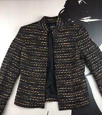 JONES NEW YORK Women Black Gold Boucle Open Front Jacket Dress Holiday Size 4