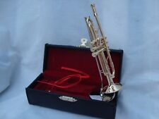 "TRUMPET Miniature Only 4.75"" Long Music Gift Gold W/Stand & Case Beautiful!! NIB"