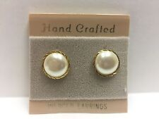 SIMULATED PEARLS HAND CRAFTED PIERCED EARRINGS