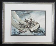 """""""Blowing Home"""" by W S Reid (c.1973) - Signed Framed Original Sailing Watercolor"""