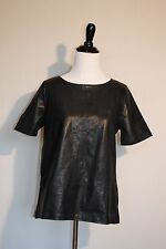 NWT J Crew Collection Leather Front Top in Navy Sz Small S Retail $345 #04320