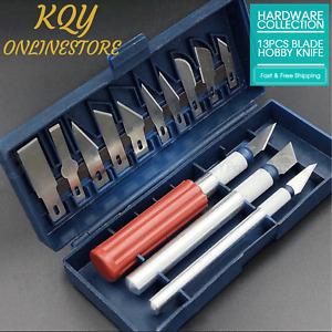 13pcs Hobby Knife Set Modelling Craft Cutting Blade Kit Cutter Art Sharp Tool AU