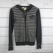 O'Neill Womens Gray Stripe Sweater Hoodie Front Zip Size Medium