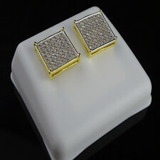 14K White Gold Finish Men Women White Lab Simulated Diamond Square Stud Earring