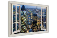 LONDON CITYSCAPE 3D WINDOW BAY VIEW FRAMED CANVAS WALL ART PICTURES WALL PRINTS