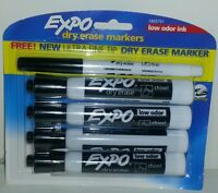 5 EXPO DRY ERASE MARKERS Low Odor Ink 4 Chisel Tip 1 Ultra Fine Black Markers