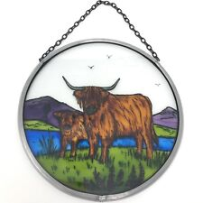 Decorative Winged Heart Hand Painted Stained Glass Roundel - Highland Cattle