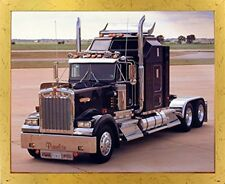 Black Kenworth Panelite Big Rig Truck Wall Decor Golden Art Framed Picture 18x22